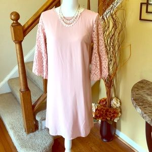 Pink Lace Sleeves Shift Dress